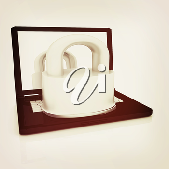 Computer security concept on a white background. 3D illustration. Vintage style.