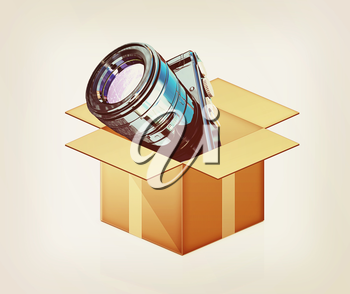 camera out of the box on a white background. 3D illustration. Vintage style.