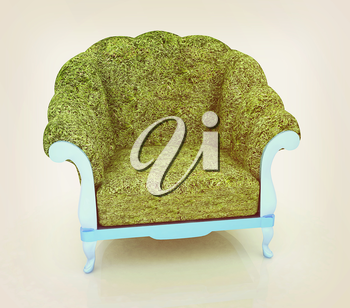 Herbal armchair on a white background. 3D illustration. Vintage style.