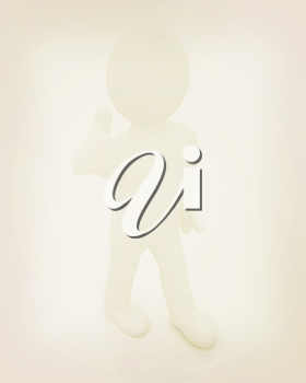 3d man with thumb up on a white background. 3D illustration. Vintage style.