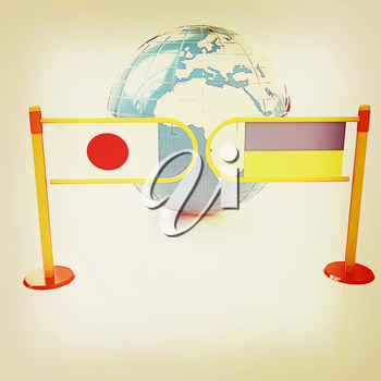 Three-dimensional image of the turnstile and flags of Japan and Ukraine on a white background . 3D illustration. Vintage style.
