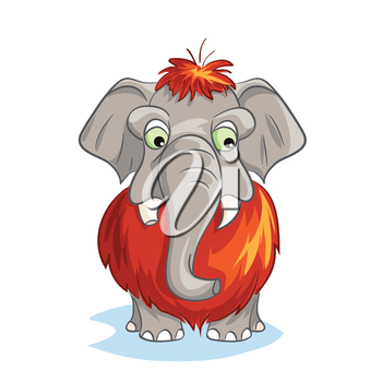 Royalty Free Clipart Image of a Baby Mammoth
