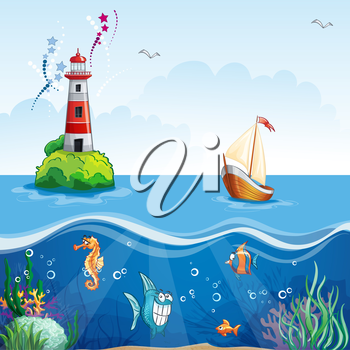 Royalty Free Clipart Image of a Sailing Background