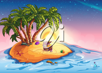 Royalty Free Clipart Image of a Desert Island With a Treasure Chest