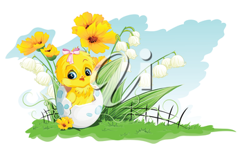 Royalty Free Clipart Image of a Chick in an Easter Egg in a Garden