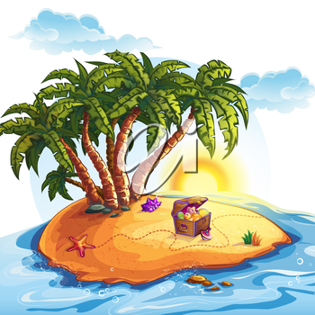 Royalty Free Clipart Image of a Chest of Toys on an Island