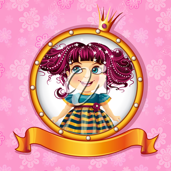 Royalty Free Clipart Image of a Little Girl in a Frame