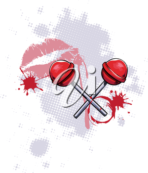Royalty Free Clipart Image of Lollipops and Lips on a Grunge Background