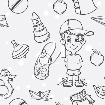 Royalty Free Clipart Image of a Little Boy and Toys