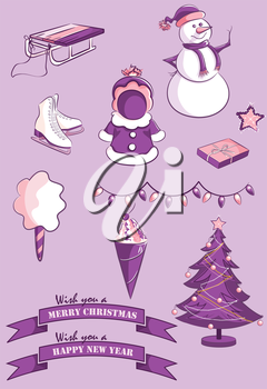Royalty Free Clipart Image of a Set of Winter Elements