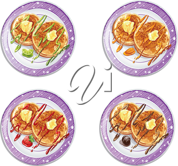 Royalty Free Clipart Image of Four Plates of Pancakes