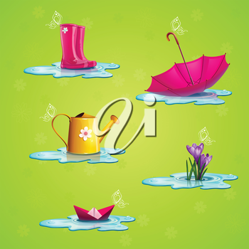 Royalty Free Clipart Image of Rainy Day Items