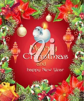 Vector greeting card with Christmas and New Year tree with branches, pine cones and toys