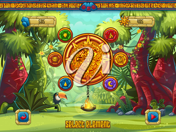Illustration game window select the elements to a computer game Jungle Treasures