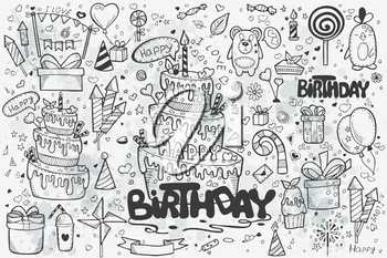 A large set of hand-drawn doodles to birthday. Birthday cake, balloons, rockets, gifts.