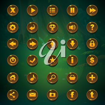 Set buttons for game user interface on green background. Vector illustration images to the computer game Shadowy forest GUI to create buttons, banners, graphic elements.