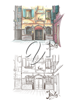Vector illustration on the theme of the streets of Venice in tender pastel color