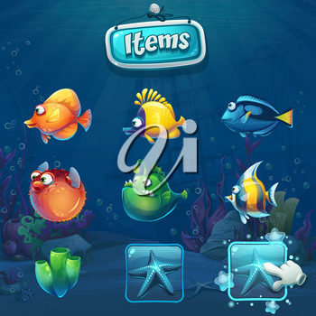 Set of cartoon items in underwater world background. Marine Life Landscape with different inhabitants. For design websites and mobile phones, printing.