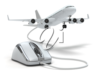 Online booking flight or travel concept. Computer mouse and airplane. 3d