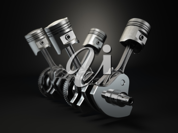 V4 engine pistons and cog on black background. 3d