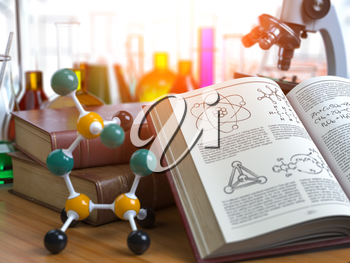 Chemistry .Laboratory equipment microscope with flasks, vials and model of molecule and book of chemistry. 3d illustration