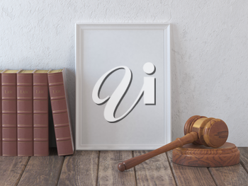 Mock up gavel and vintage lawyer book with space for licence, certificate or diploma. Concept of law and justice. 3d illustration