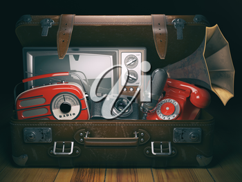 Vintage suitcase with old obsolete electronic equipment set. Retro technology concept background. Radio, tv set, telephone camera microphone and gramophone. 3d illustration