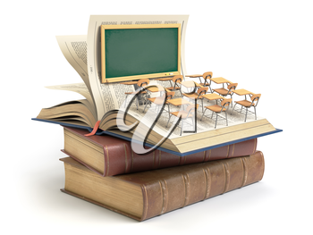 Vintage books with blackboard and school desks in the auditorium. Education concept. 3d illustration