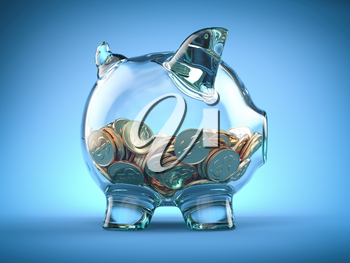 Glass piggy bank and coins with dollar sign on blue background. Deposit, savings money and investment concept. 3d illustration