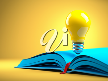 Yellow light bulb on the blue open book. Idean and creativity concept background. 3d illustration