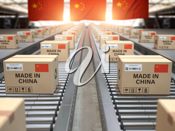 Made in China. Cardboard boxes with text made in China and chinese flag on the roller conveyor. 3d illustration