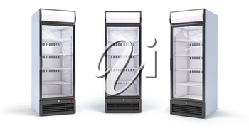 Fridge with glass door isolated on white. Set of empty showcase refrigerators in the grocery shop. 3d illustration