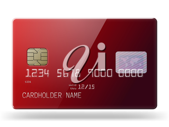 Highly detailed glossy credit card. Photo realistic illustration.