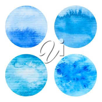 Hand painted watercolor circles set. Nautical sea texture, blue colors. High resolution graphic design elements for business cards, wedding and baby shower invitation, birthday cards and web sites.