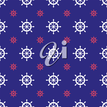 Seamless nautical pattern with scattered ship wheels. Design element for wallpapers, baby shower invitation, birthday card, scrapbooking, fabric print etc.
