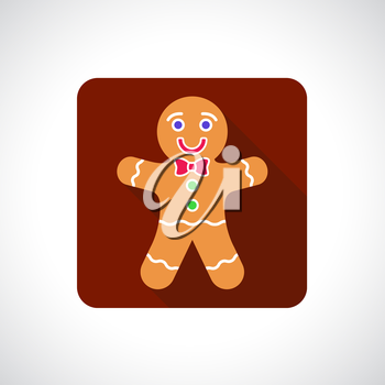 Christmas Gingerbread Cookie icon. Infographic symbol with shadow. Festive style graphic design element. Flat style web button. Traditional celebration concept.