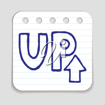 Doodle UP Arrow icon. Blue pen hand drawn infographic symbol on a notepaper piece. Line art style graphic design element. Web button with shadow. Direction, growth, going up,  progress concept.