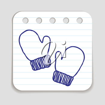 Doodle Winter Mittens icon. Winter sports kids wear for playing outdoors. Blue pen hand drawn infographic symbol on notepaper. Line art style graphic design element. Web button with shadow.