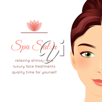 Spa Salon poster with a face of a beautiful girl. Face treatments gift voucher, makeover day ad, wellness center invitation flyer. Graphic design template. Attractive young woman. Vector illustration