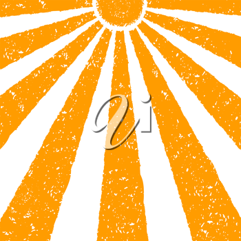 Orange Sun background. Hand painted with oil pastel crayons. Bright fun card, invitation template. Yellow and orange sun and red text. Abstract graphic design on white background. Vector illustration