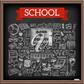 Back to School doodles. Graphic design elements. Hand drawn education icons set with blackboard, school bus and supplies, puzzle, thumb up and more. Black chalkboard effect. Vector Illustration