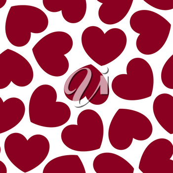 Seamless pattern with hearts. Romantic texture. Background with red hearts. Valentines day, wedding, baby shower graphic element. Vector illustration.