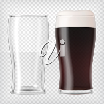 Realistic beer glasses. Mug filled with dark beer and bubbles with an empty mug. Graphic design element for a brewery ad, beer garden poster, flyers and printables. Transparent vector illustration.