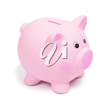 Pink ceramic piggy bank, isolated on white background. Keeping money in a safe or a bank, or in a piggy bank, economy, financials investments, savings for buying a house, a car, for retirement concept
