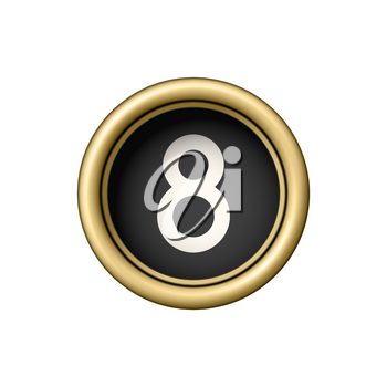 Number 8. Vintage golden typewriter button isolated on white background. Graphic design element for scrapbooking, sticker, web site, symbol, icon. Vector illustration.