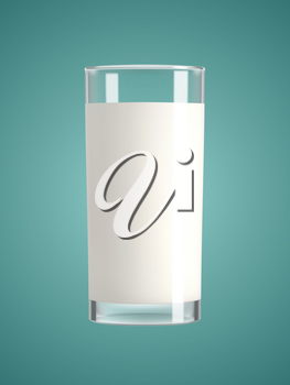 Milk in a glass green background. Healthy diet. Clean eating. Tall beverage glass. Breakfast, protein rich dairy product. graphic design element. Transparent realistic vector illustration.