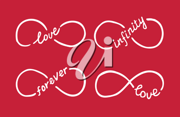 Infinity symbols with words love, infinity, forever. Thin line with calligraphy. Modern grunge outline. Graphic design element for Valentine's Day card, wedding invitation, tattoo. Vector illustration