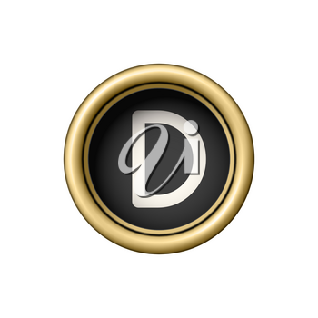 Letter D. Vintage golden typewriter button isolated on white background. Graphic design element for scrapbooking, sticker, web site, symbol, icon. Vector illustration.