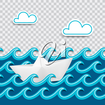 Nautical card made of paper cut out with waves and clouds and a boat in origami style with place for design and transparent shadows. Vector illustration.