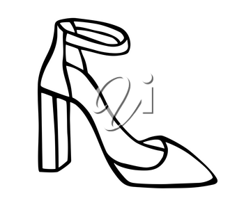 Doodle summer pumps with platform and heel hand drawn in line art style with ink brush. Vector illustration isolated on white background